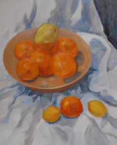 Studio painting of oranges and lemons