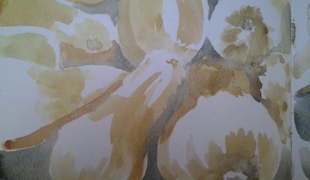 Butternut squash, watercolor sketchbook, February 2013, Fran Osborne