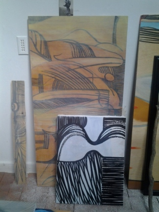 Work in progress, March 2013, Sumi ink on canvas and board, with oil paint, Fran Osborne