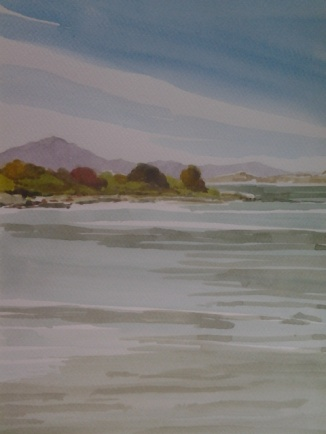 Albany Bulb, looking towards Mount Tamalpais, Waterclor, fran osborne