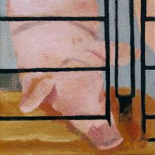 Factory Farm Hog, animal confinement, Fran Osborne, oil painting